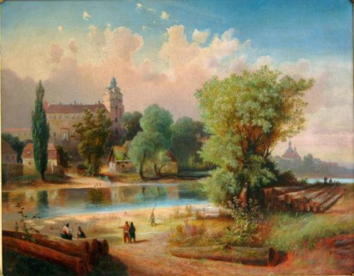 Obraz zámku v Brandýse nad Labem s barokní věží